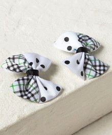 Milonee Polka & Checks Bow Clip - White & Black