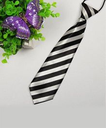 Milonee Thick Cross Stripe Tie - Black & White