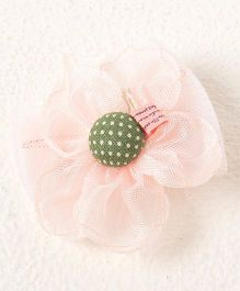 Milonee Big Flower With Button Bow Clip - Peach