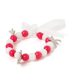 Milonee Beads With Charms Bracelet - White & Pink