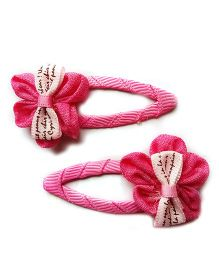 Milonee Flower With Bow Hair Band - Dark Pink
