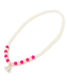 Milonee Pearl Necklace With Moon Pendant - Pink & White