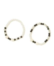 Milonee Best Friend Pearl Anklet Set With Beads - White & Black