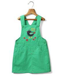 Beebay Girls  Bird Applique Green Dungaree Dress  3Y 100% Cotton Woven