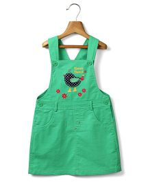 Beebay Girls  Bird Applique Green Dungaree Dress  6Y 100% Cotton Woven
