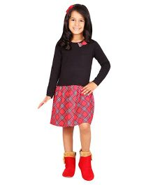 Beebay Full Sleeves Check Dress - Black & Red