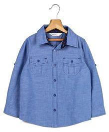 Beebay Full Sleeves Chambray Shirt - Blue