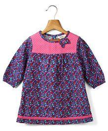 Beebay Long Sleeves Disty Print Dress - Multi Color