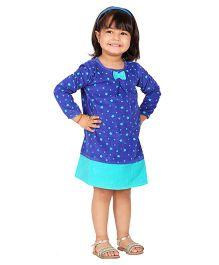 Beebay Star Print Corduroy  Dress - Navy Blue