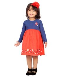 Beebay Full Sleeves Dress Butterfly Print - Orange
