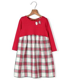 Beebay Full Sleeves Check Frock Bow Applique - Red White