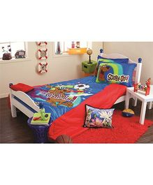 Portico New York Scooby Doo King Size Bed Sheet and Pillow Cover - Red Blue