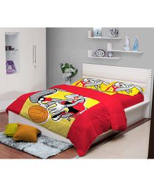 Portico New York Looney Tunes Bed Sheet and Pillow Cover - Red Yellow