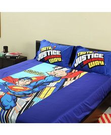 Portico New York Superman Bed Sheet and Pillow Cover - Blue