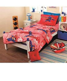 Portico New York Superman Single Bed Sheet and Pillow Cover - Red