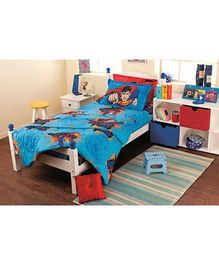 Portico New York Hot Wheels Double Bed Sheet and Pillow Cover - Blue