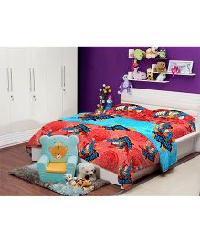 Portico New York Superman Single Bed Sheet and Pillow Cover - Red Blue