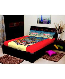 Portico New York Hot Wheels King Size Bed Sheet and Pillow Cover - Red Yellow