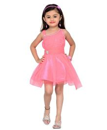 Adiva Sleeveless Party Wear Frock With Stone Embellishments - Pink