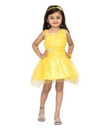 Adiva Sleeveless Party Wear Frock With Stone Embellishments - Yellow