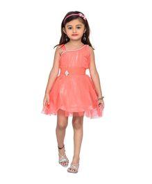 Adiva Sleeveless Party Wear Frock With Stone Embellishments - Orange