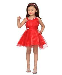 Adiva Sleeveless Party Wear Frock With Stone Embellishments - Red