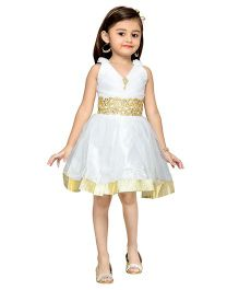 Adiva Sleeveless Party Wear Frock With Lace And Embellishments - White