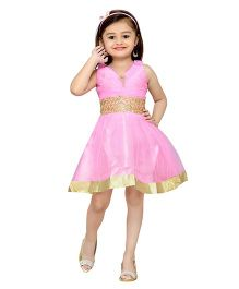 Adiva Sleeveless Party Wear Frock With Lace And Embellishments - Lotus Pink