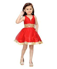 Adiva Sleeveless Party Wear Frock With Lace And Embellishments - Red