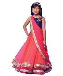 Peek-a-Boo Saree Drape Gown - Pink & Blue