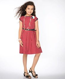 Peek-a-Boo Heart Printed Dress - Red