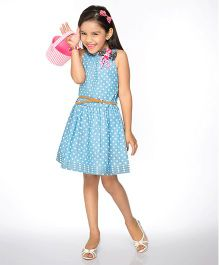 Peek-a-Boo Polka Dot Dress With Belt - Blue