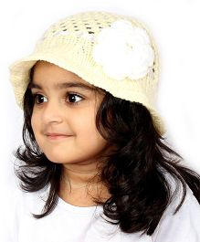 Magic Needles Handknitted Hat For Girls - Cream