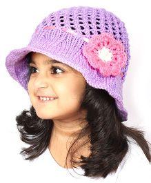 Magic Needles Handknitted Hat For Girls - Purple