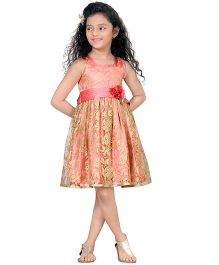 Peek-a-Boo Shimmer Floral Partywear Dress - Peach