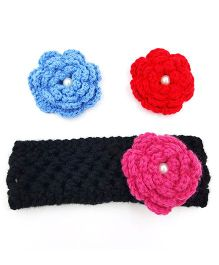 Magic Needles Handknitted Headband With Interchangeable Flowers - Blue Red & Light Pink
