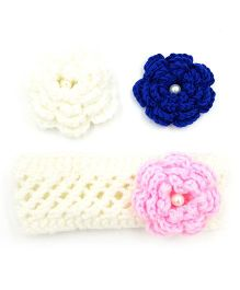 Magic Needles Handknitted Headband With Interchangeable Flowers - White Blue & Baby Pink