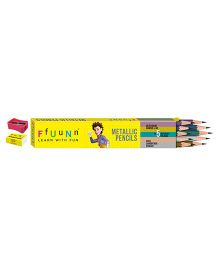 FfUuNn Metallic Pencils With Eraser & Sharpner Multicolor - Pack Of 10
