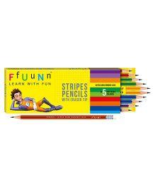 FfUuNn Stripes Design Pencil With Eraser Tip Multicolor - Pack Of 10