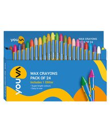 Youva Wax Crayons Pack of 24 Shades - Big
