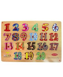 Learners Play Counting Puzzle 1 to 20 With Knobs Multi Color - 20 Pieces
