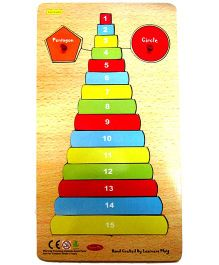 Learners Play Wooden Counting Tower With Shapes With Knobs Multi Color - 17 Pieces