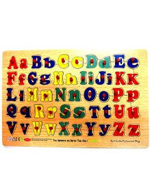 Learners Play Double Alphabet With Knobs Wooden Puzzle Multi Color - 52 Pieces