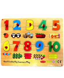 Learners Play Counting Wooden Puzzle 1 to 10 With Knobs Multi Color - 10 Pieces