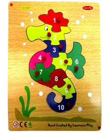 Learners Play Sea Horse Wooden Puzzle 1 to 10 With Knobs Multi Color - 10 Pieces