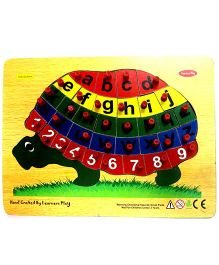 Learners Play Alphabet on Tortoise Wooden Puzzle With Knobs Multi Color - 26 Pieces