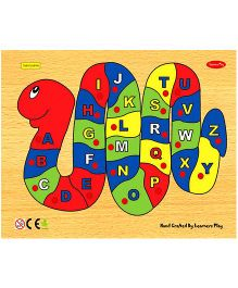 Learners Play Alphabet on Snake Wooden Puzzle With Knobs Multi Color - 26 Pieces