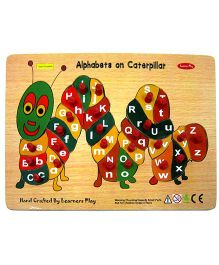 Learners Play Alphabet on Caterpillar Wooden Puzzle With Knobs Multi Color - 26 Pieces