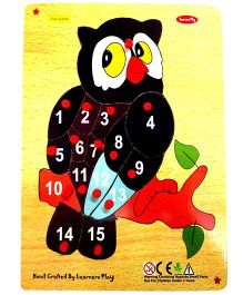 Learners Play Counting on Owl Wooden Puzzle 1 to 15 With Knobs Multi Color - 16 Pieces