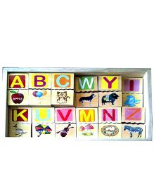 Learners Play Alphabet Picture Block Tiles With Storage Box - 52 Cubes
